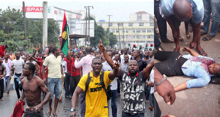 Biafrans Protests, younglady killed
