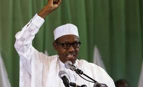 Buhari on white hand raised