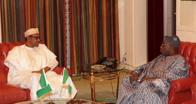 Obasanjo visits b uhari in Aso Rock