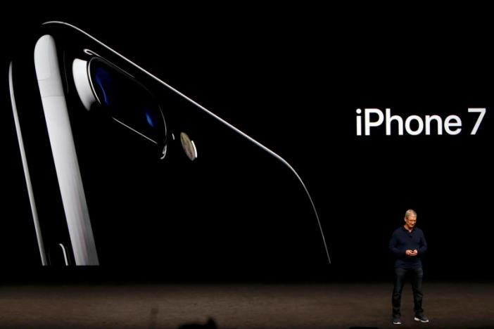 Tim Cook discusses the iPhone 7 during an Apple media event in San Francisco